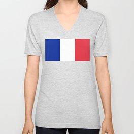 Flag of France, High quality image Unisex V-Neck