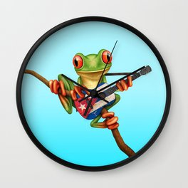 Tree Frog Playing Acoustic Guitar with Flag of Cuba Wall Clock
