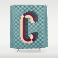 memphis Shower Curtains featuring Memphis C by pawaiian-hunch