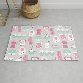 Kawaii breakfast good morning pattern with eggs coffee bacon and tea Rug