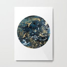 Round Outer Space Planet Earth Metal Print