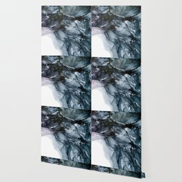 Dark Payne's Grey Flowing Abstract Painting Wallpaper