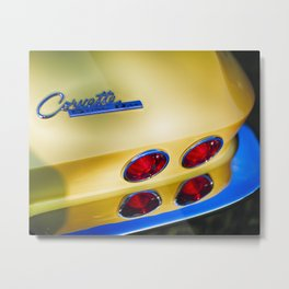 Emblem with Tail Lights and Chrome Bumper Metal Print
