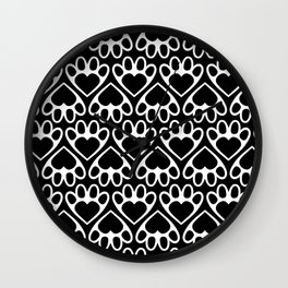 Paw Prints on my Heart - in Black Wall Clock