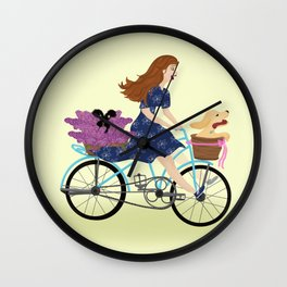 Woman On Bike With Basket, Hydrangeas, And A Yellow Lab Puppy Wall Clock