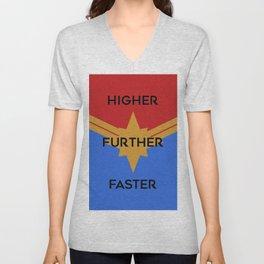 Higher, Further, Faster Unisex V-Neck