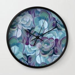 Blue Sedums Wall Clock