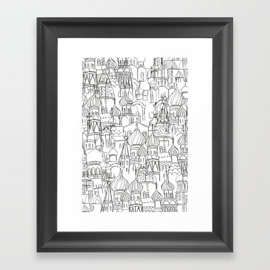 Line Drawing Wall Art : Russian cathedral church line drawing framed art print by