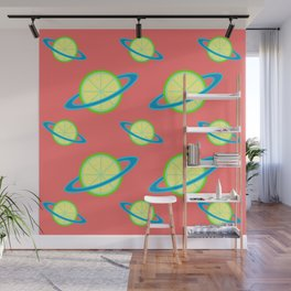 Planet Lime Pattern | Solar System | Space | Citrus Planets | Tropical Fruit | pulps of wood Wall Mural