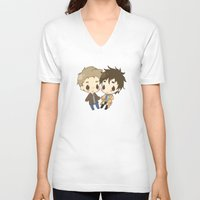 destiel V-neck T-shirts featuring Destiel by PrettyOddChild