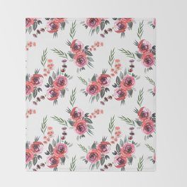 Bouquets Pattern Red Throw Blanket