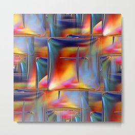 Mirrored Metallic Tile Fire Colors Metal Print