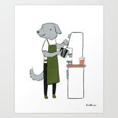 Deerhound Barista (Dogs with Jobs series) Art Print