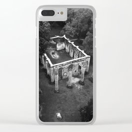 Old Sheldon Church Ruins Black and White Clear iPhone Case