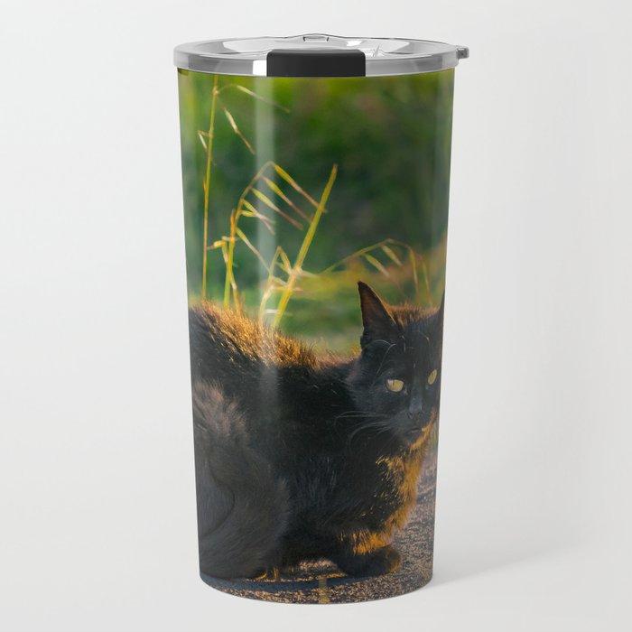 Adult Black Cat at Park Travel Mug