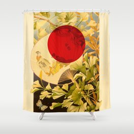 Japanese Ginkgo Hand Fan Vintage Illustration Shower Curtain