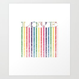 Gorgeous Colorful Stripes LOVE Typography Art Print