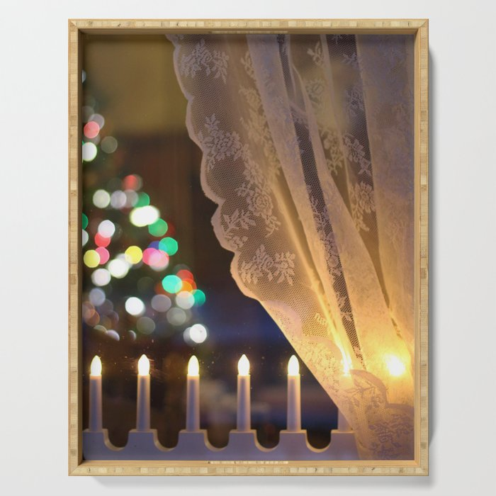 Christmas Light in Window Serving Tray