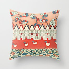 Chickens in the seaside Throw Pillow
