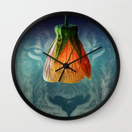 Lion Looks at Flower Wall Clock