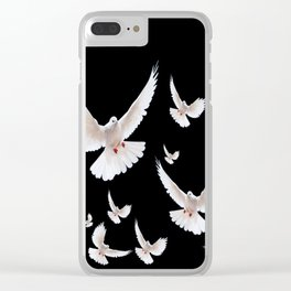 FLOCK OF WHITE DOVES ON BLACK ART Clear iPhone Case