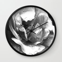 Morning Rose - greyscale version Wall Clock