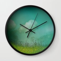 Daydreaming in the meadow - textured photography Wall Clock