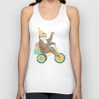 birthday Tank Tops featuring birthday sloth by Laura Graves