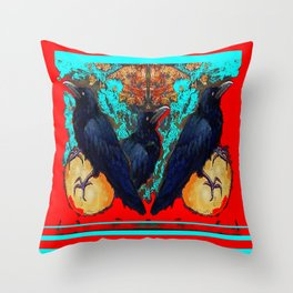 Crow-Ravens Family Red Southwest Style Abstract Throw Pillow