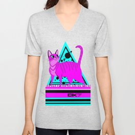 Pink Cat in Space Unisex V-Neck