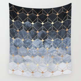 Blue Hexagons And Diamonds Wall Tapestry