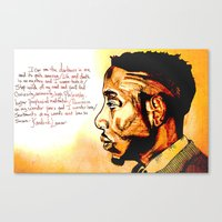 kendrick lamar Canvas Prints featuring Kendrick Lamar by Monroe the artist