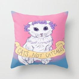 Cats, Not Catcalls Throw Pillow