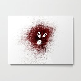 Space face Red Metal Print