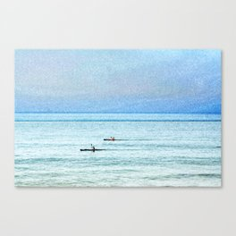 Seascape with kayaks watercolor Canvas Print