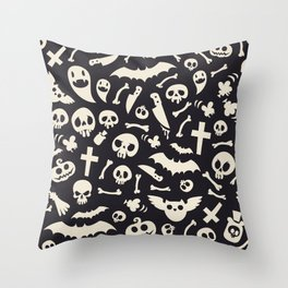 Halloween Symbols Pattern Contrast Throw Pillow