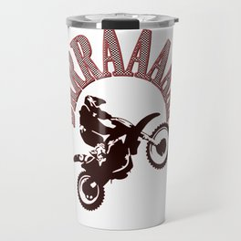 Brrraaaaap Red Checkered Flag Moto Language Travel Mug