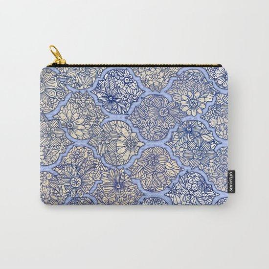 Moroccan Floral Lattice Arrangement - Purple Carry-All Pouch