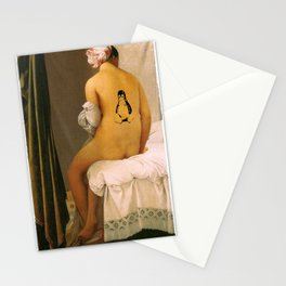 Master piece with Linux Tux tatoo Stationery Cards
