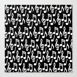 Black & White Music Notes Canvas Print