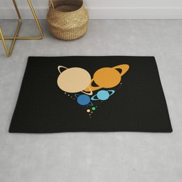 Solar System Heart (to scale) Rug