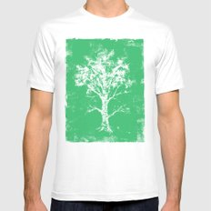Green Tree Mens Fitted Tee White MEDIUM