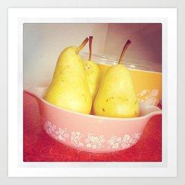 Pears in Pyrex Art Print