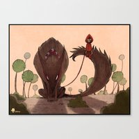 red riding hood Canvas Prints featuring Red Riding Hood riding 2 by Gromy