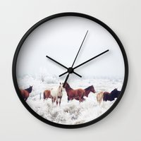 oregon Wall Clocks featuring Winter Horseland by Kevin Russ