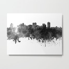 Manila skyline in black watercolor on white background Metal Print