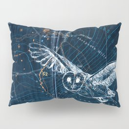 Owl at night, Blue Pillow Sham