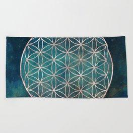 Mandala Flower of Life Rose Gold Space Stars Beach Towel