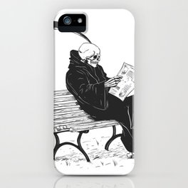 Grim reaper reading newspaper - cartoon skeleton - dark skull iPhone Case