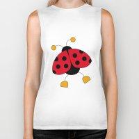 ladybug Biker Tanks featuring Ladybug by Daniela Alvisi